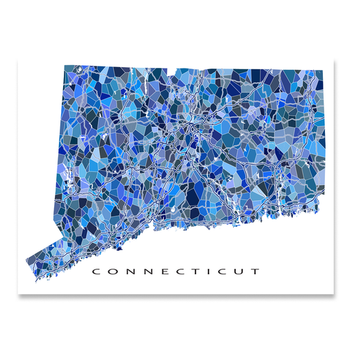 Connecticut state map art print in blue shapes designed by Maps As Art.