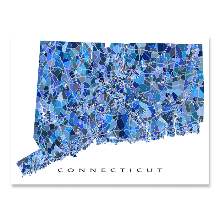 Connecticut Map Print, CT State