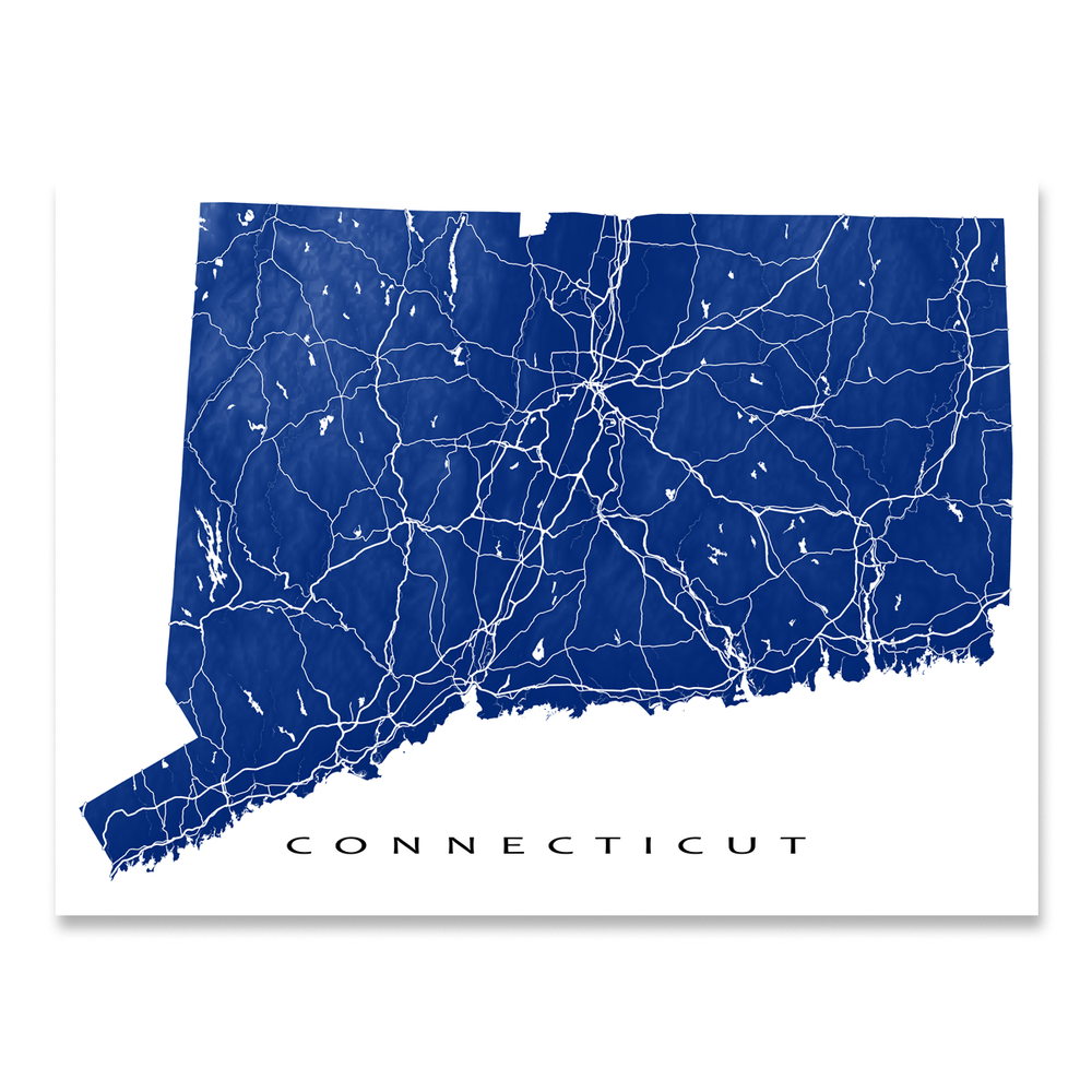 Connecticut Map Print, USA State, CT