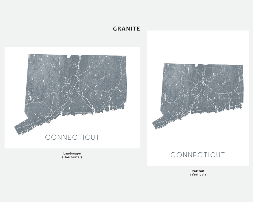 Connecticut state map print in Granite by Maps As Art.