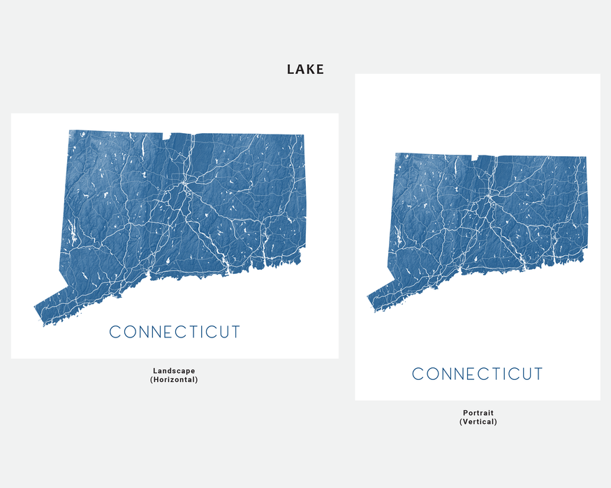 Connecticut state map print in Lake by Maps As Art.