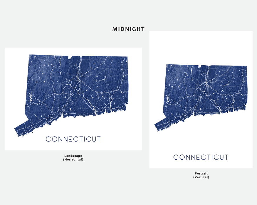 Connecticut state map print in Midnight by Maps As Art.