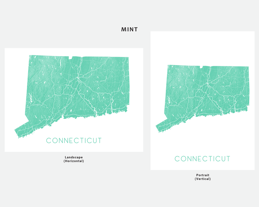 Connecticut state map print in Mint by Maps As Art.