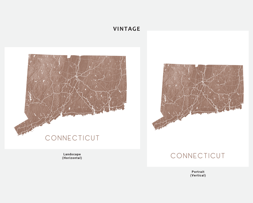 Connecticut state map print in Vintage by Maps As Art.