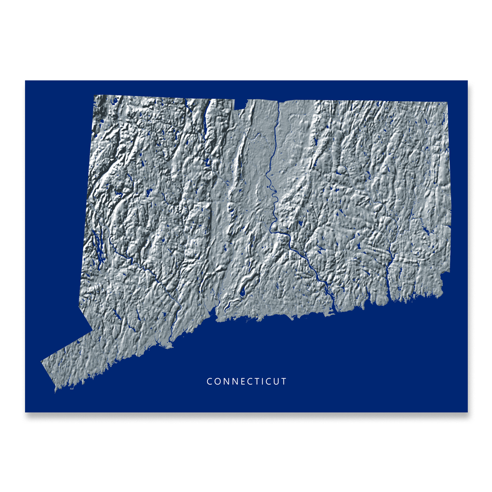 Connecticut Map Print, Navy Landscape