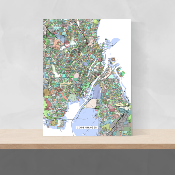Copenhagen, Denmark map art print in colorful shapes designed by Maps As Art.
