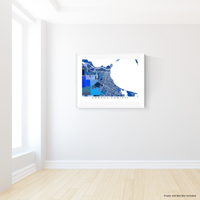 Corpus Christi, Texas map art print in blue shapes designed by Maps As Art.