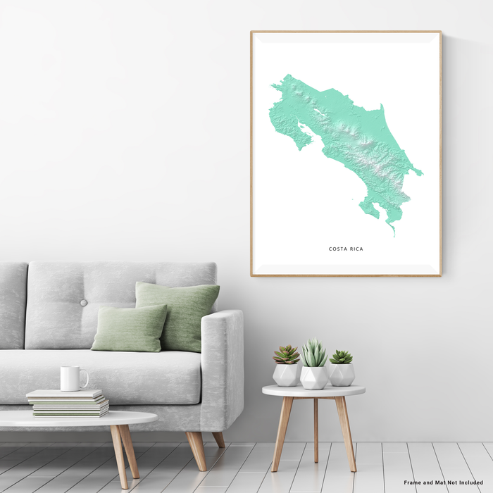 Costa Rica map with natural landscape in aqua tints designed by Maps As Art.
