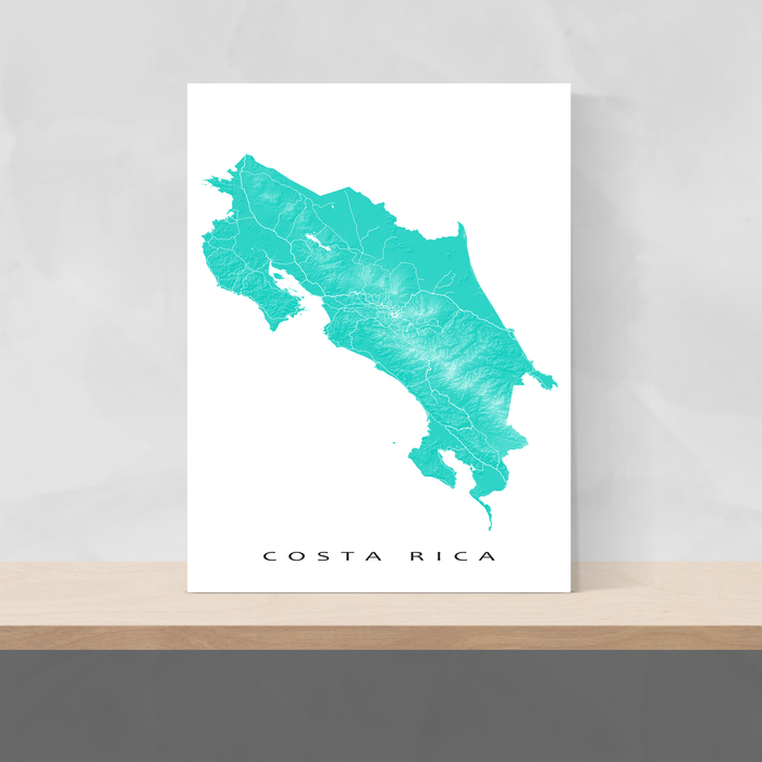 Costa Rica map print with natural landscape and main roads in Turquoise designed by Maps As Art.
