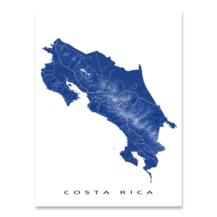 Costa Rica map print with natural landscape and main roads in Navy designed by Maps As Art.