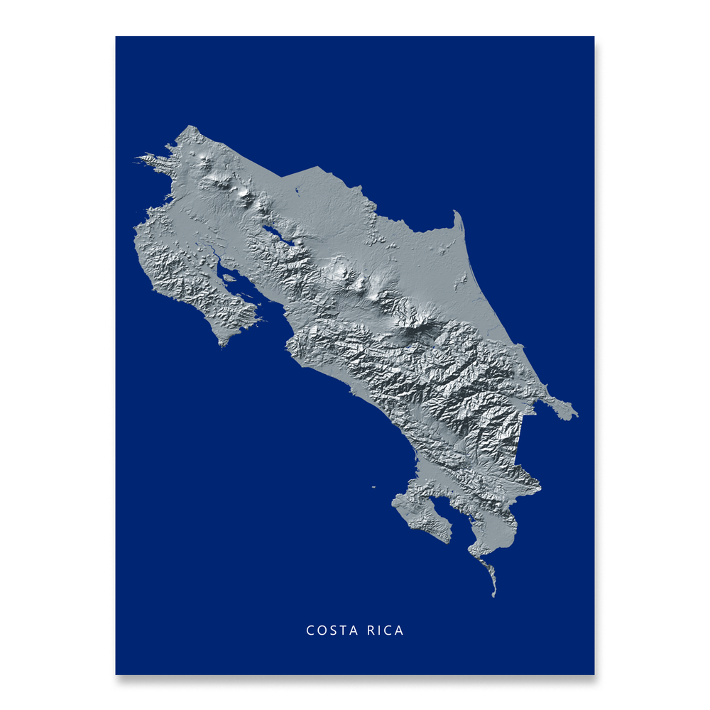 Costa Rica map print with natural landscape in greyscale and a navy blue background designed by Maps As Art.