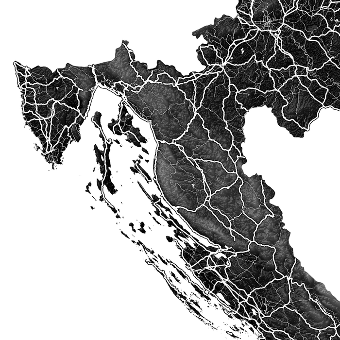 Croatia map print close-up with natural landscape and main roads designed by Maps As Art.