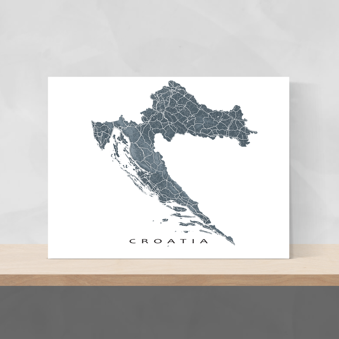 Croatia map print with natural landscape and main roads in Slate designed by Maps As Art.