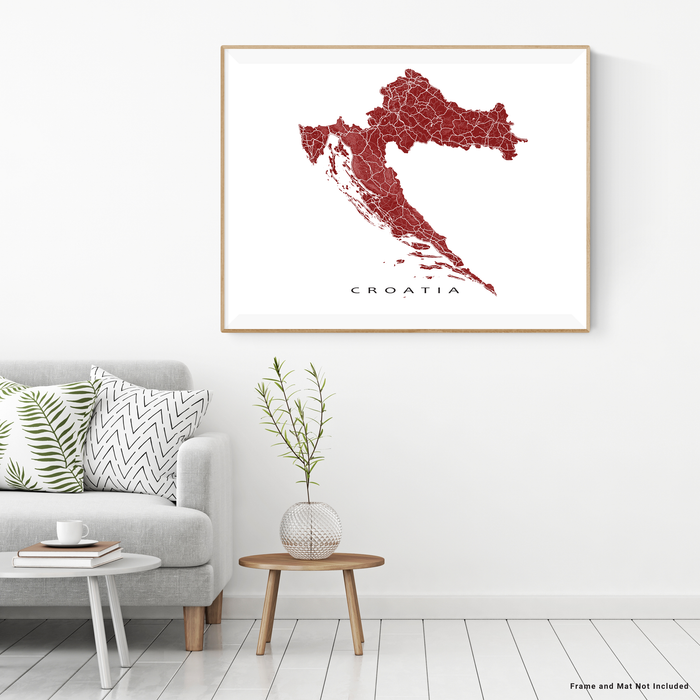 Croatia map print with natural landscape and main roads in Merlot designed by Maps As Art.