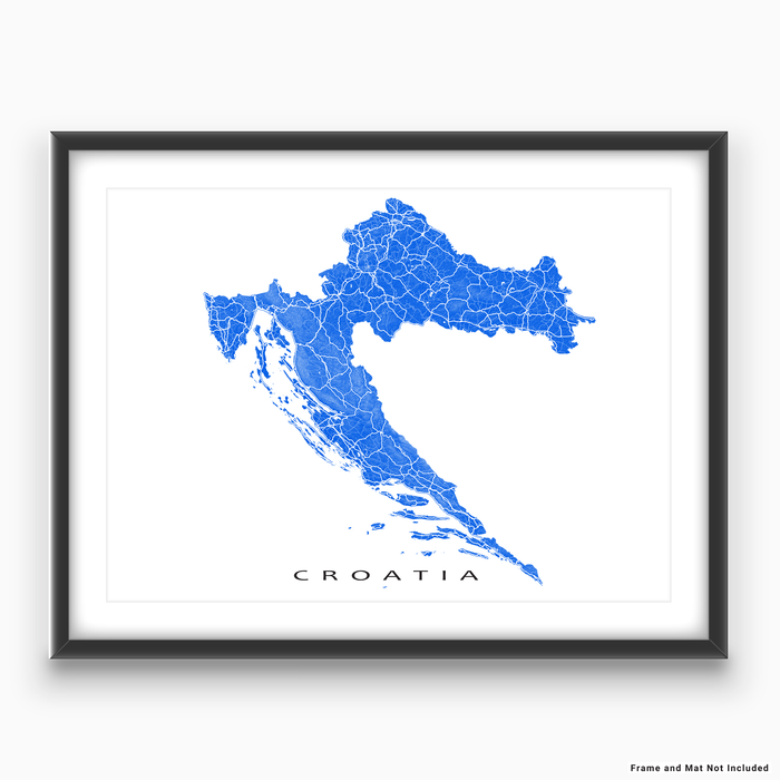 Croatia map print with natural landscape and main roads in Blue designed by Maps As Art.