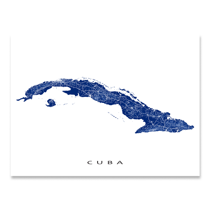 Cuba map print with natural island landscape and main roads in Navy designed by Maps As Art.