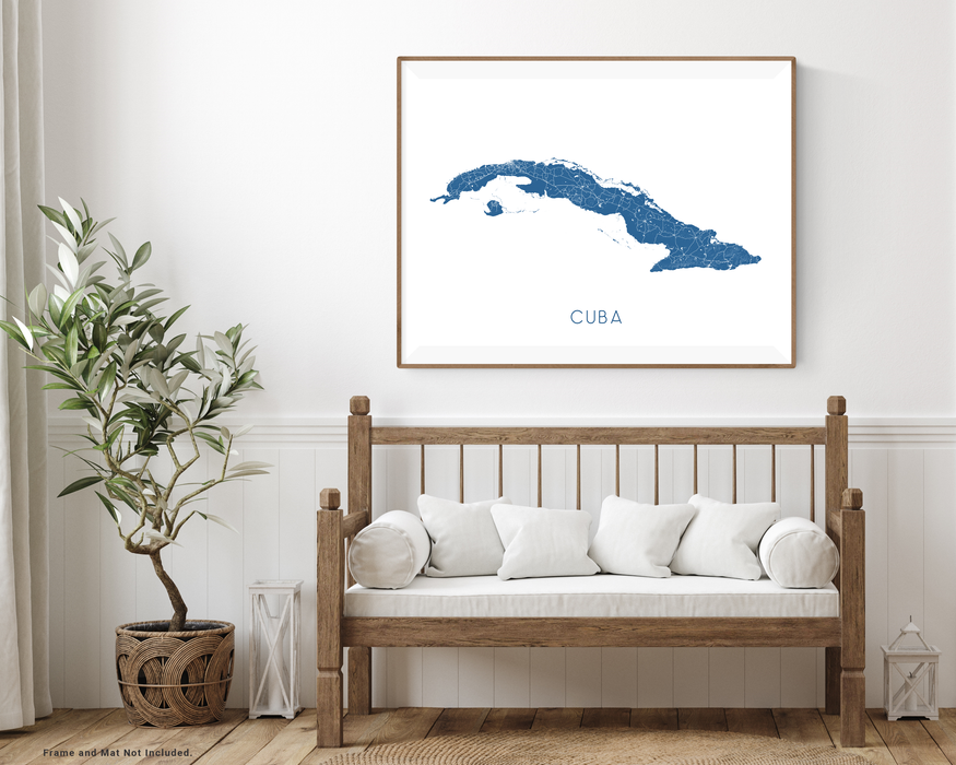 Cuba map art print with wooden bench home decor  by Maps As Art.