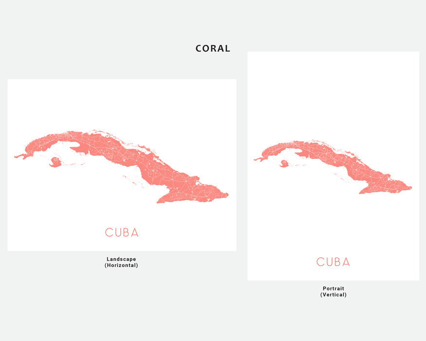 Cuba map art print in Coral by Maps As Art.