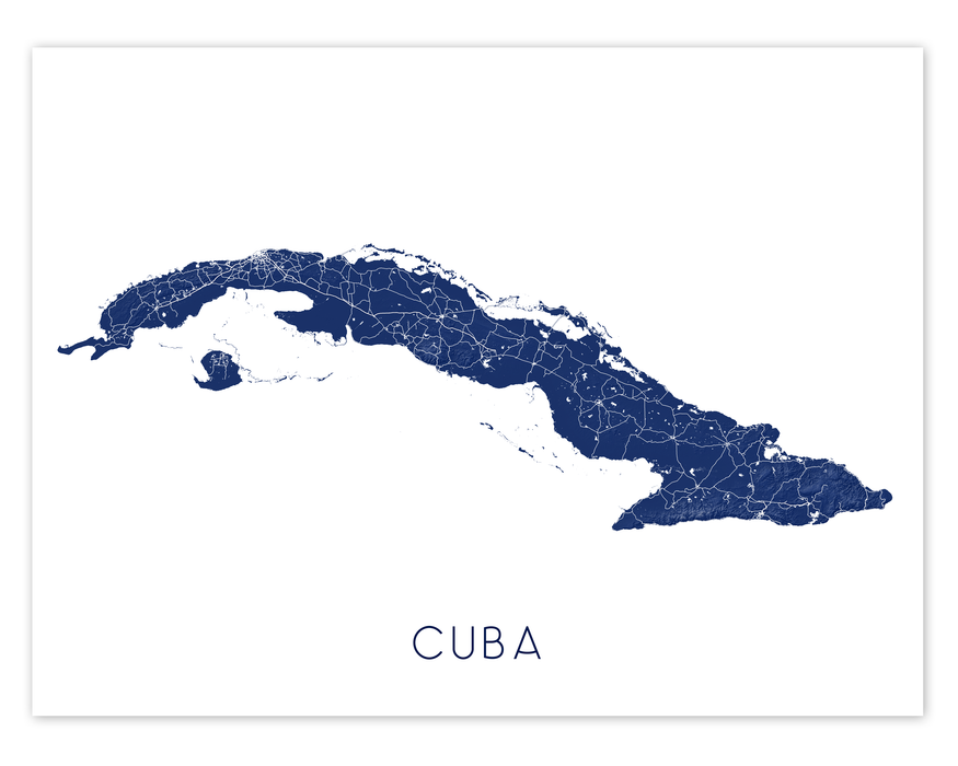 Cuba map art print in Midnight by Maps As Art.