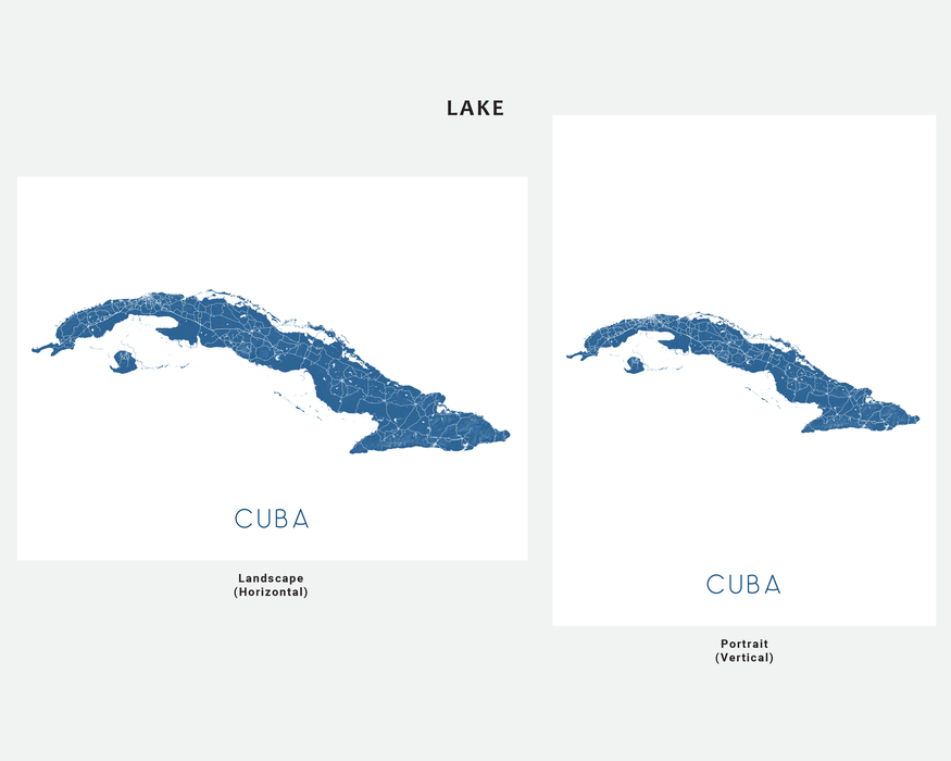 Cuba map art print in Lake by Maps As Art.