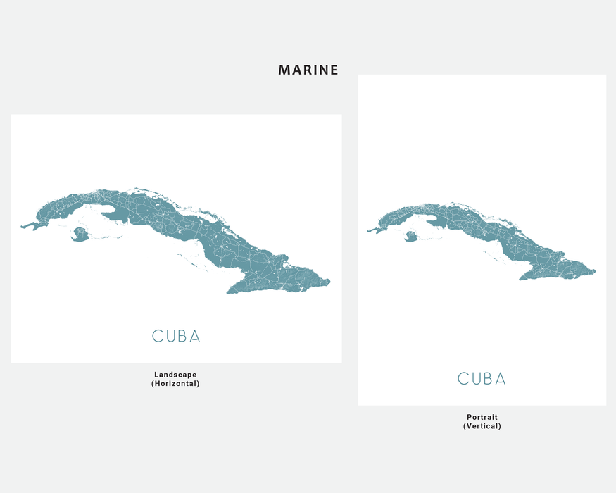 Cuba map art print in Marine by Maps As Art.