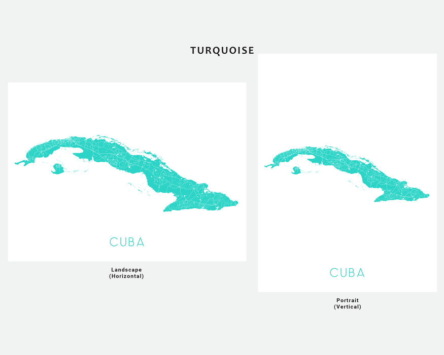 Cuba map art print in Turquoise by Maps As Art.