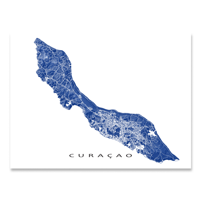 Curacao map print with natural island landscape and main roads in Navy designed by Maps As Art.
