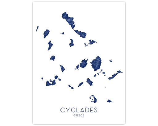 Cyclades Greece map print by Maps As Art.
