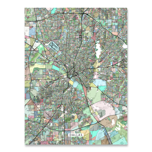 Dallas, Texas map art print in colorful shapes designed by Maps As Art.