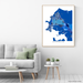 Darwin, Australia map art print in blue shapes designed by Maps As Art.