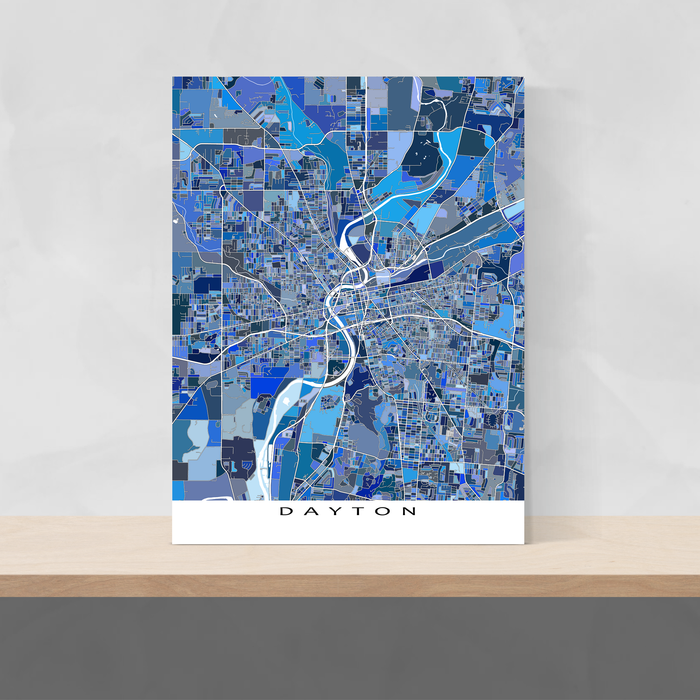 Dayton, Ohio map art print in blue shapes designed by Maps As Art.