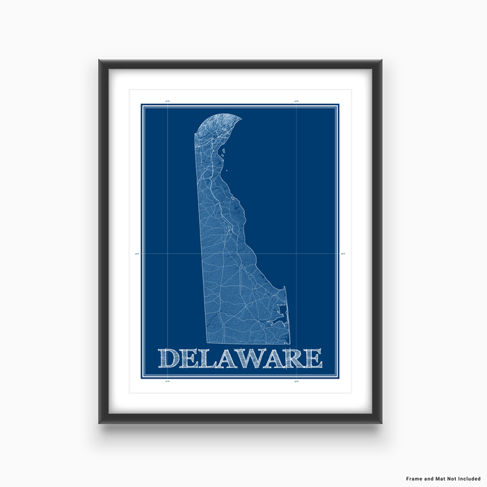 Delaware state blueprint map art print designed by Maps As Art.