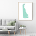 Delaware state map with natural landscape in aqua tints designed by Maps As Art.