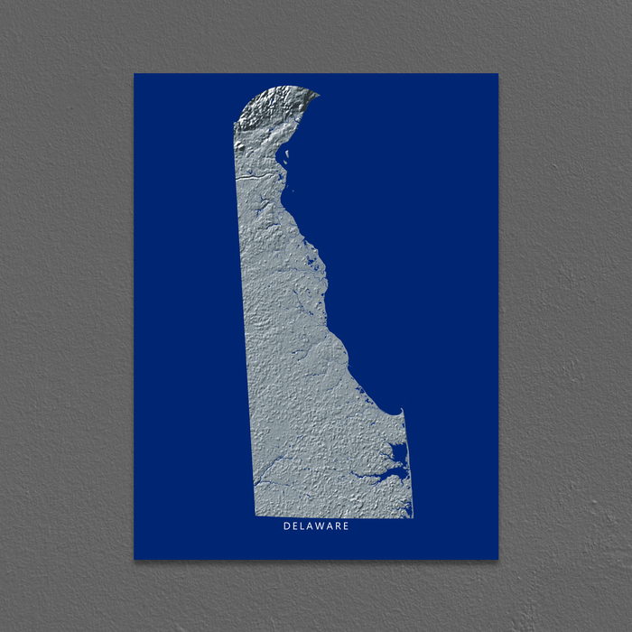Delaware state map with natural landscape in greyscale and a navy blue background designed by Maps As Art.