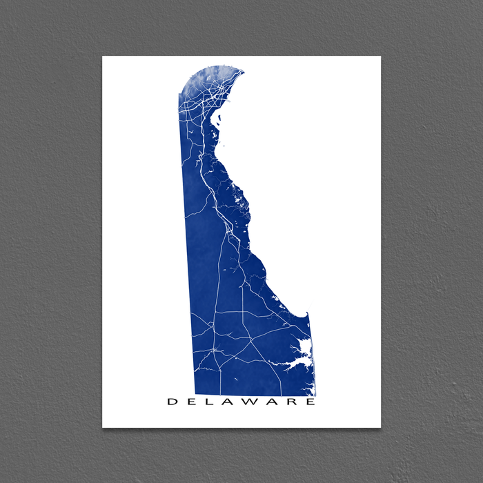 Delaware map print with natural landscape and main roads in Navy designed by Maps As Art.