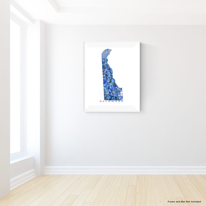 Delaware state map art print in blue shapes designed by Maps As Art.