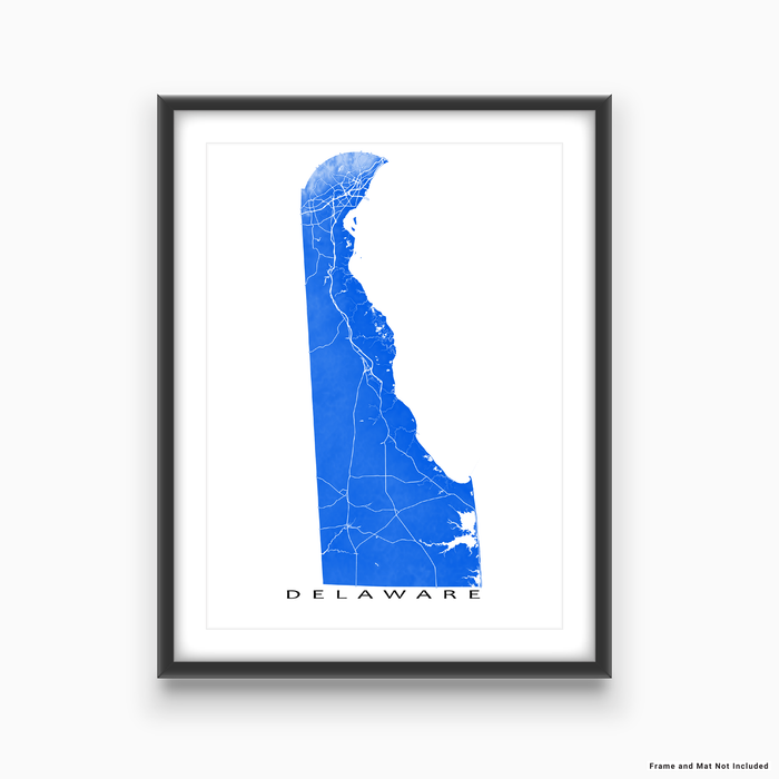 Delaware map print with natural landscape and main roads in Blue designed by Maps As Art.
