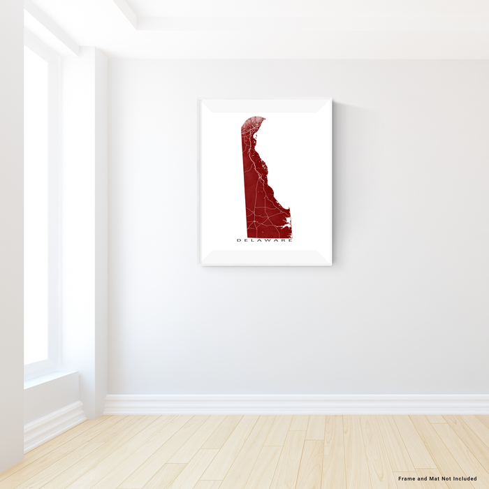 Delaware map print with natural landscape and main roads in Merlot designed by Maps As Art.