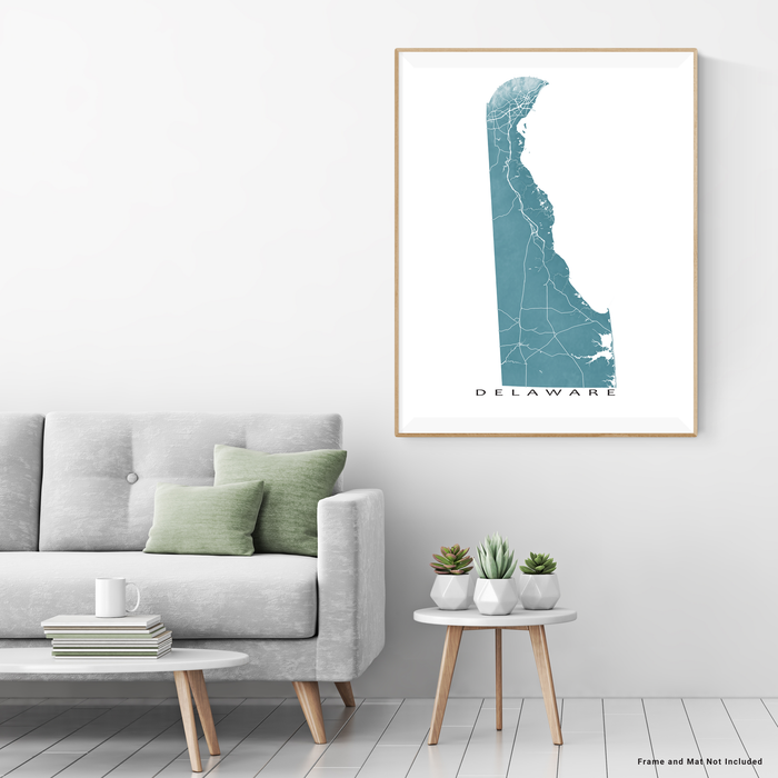 Delaware map print with natural landscape and main roads in Marine designed by Maps As Art.