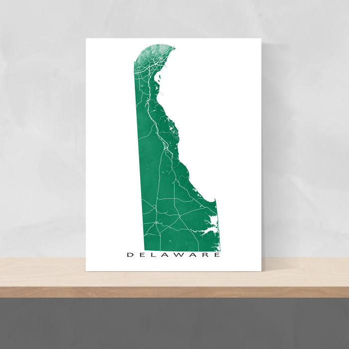Delaware map print with natural landscape and main roads in Green designed by Maps As Art.