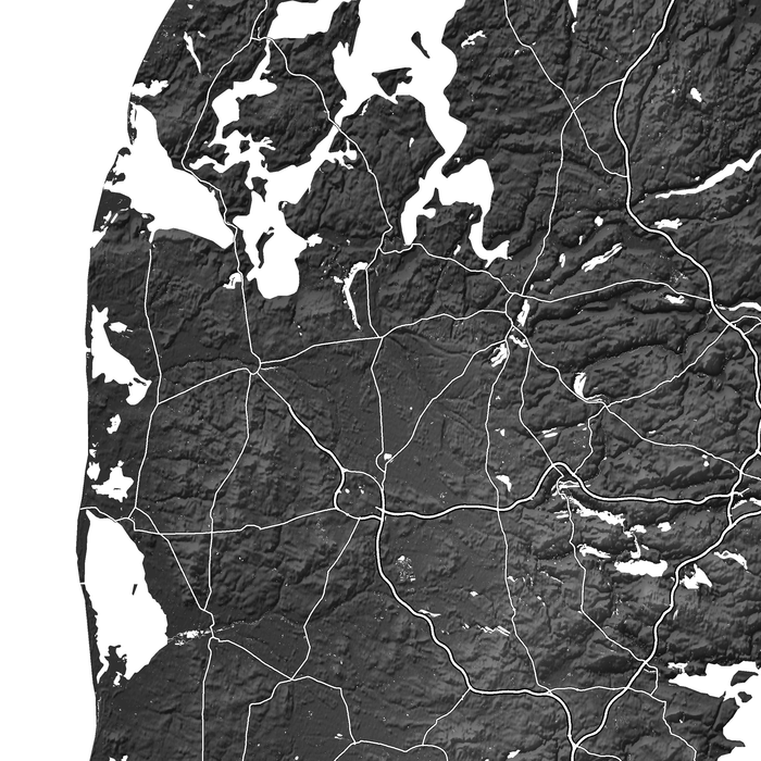 Denmark map with natural landscape from Maps As Art.