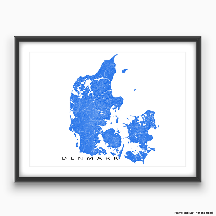 Denmark map with natural landscape in blue from Maps As Art.