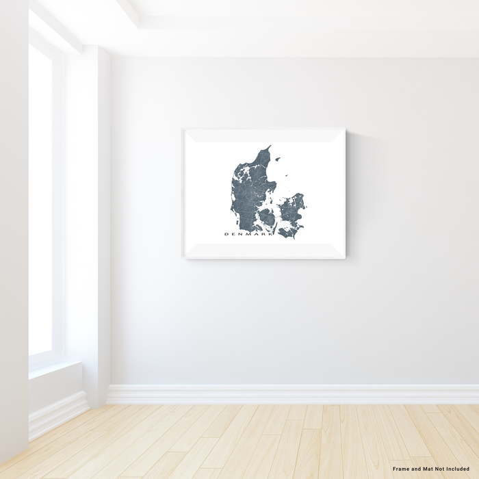 Denmark map with natural landscape in slate from Maps As Art.