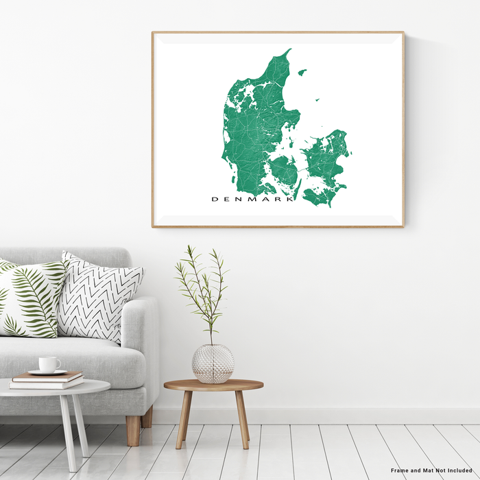 Denmark map with natural landscape in green from Maps As Art.