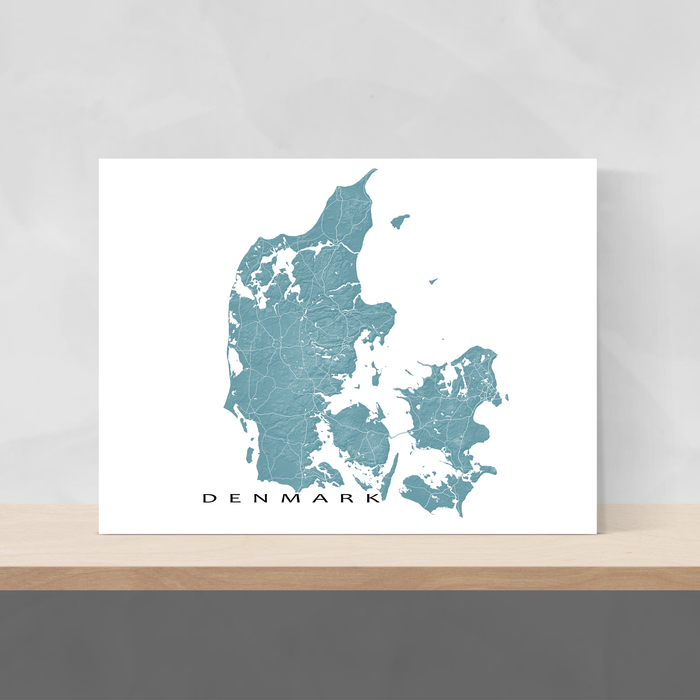Denmark map with natural landscape in marine from Maps As Art.