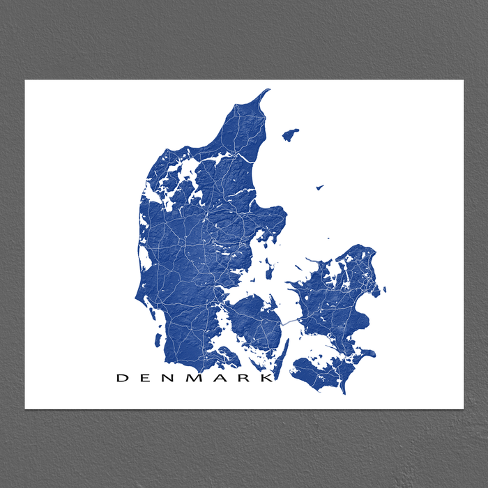 Denmark map with natural landscape in navy from Maps As Art.