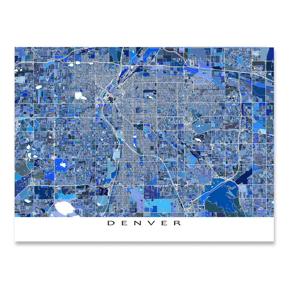 Denver, Colorado map art print in blue shapes designed by Maps As Art.