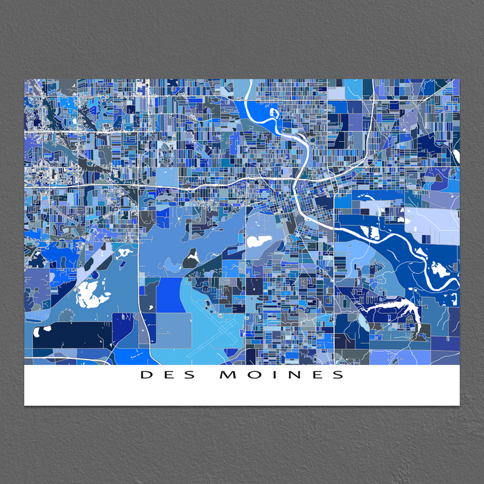 Des Moines Map Print, Iowa, USA