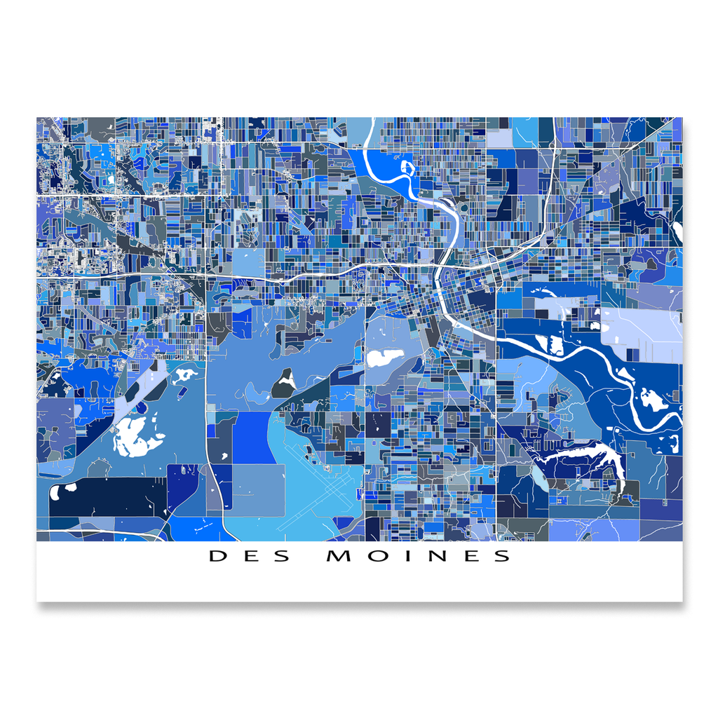 Des Moines Map Print Iowa USA Maps As Art