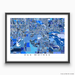 Des Moines, Iowa map art print in blue shapes designed by Maps As Art.